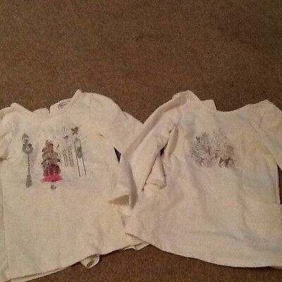 Two Girls Fleece Lined Christmas Scene Tops, Savannah, Maggie & Zoe 18-24 Months