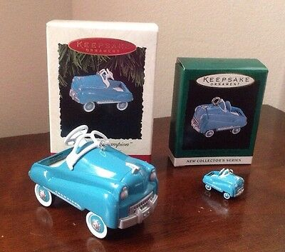 "1994 ""Murray Champion"" Set of 2 Kiddie Car Classics Hallmark Keepsake Ornaments"