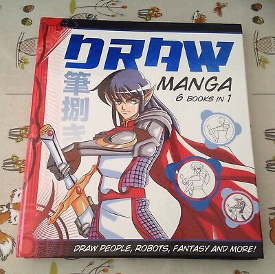 Manga How To Draw  6 Books In 1 With Binder - People Robots Fantasy And More Vgc