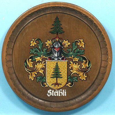 """15"""" Antique Swiss Black Forest Wood Carving Family Staehli Crest Knight Brienz"""