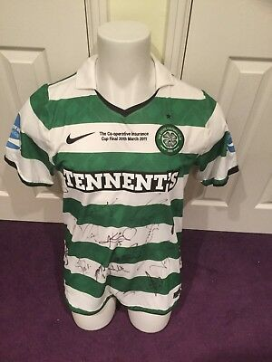 Glasgow Celtic Match Issued Worn Cup Final Shirt 2011 Fully Signed Hooper
