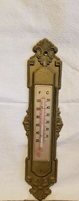 Antique Victorian Cast BRASS Wall THERMOMETER Ornate Vintage
