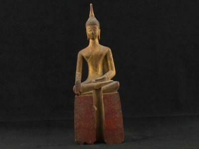 "NobleSpirit NO RESERVE 3970 Fabulous 9"" Carved Wood Sitting Buddha Statue"