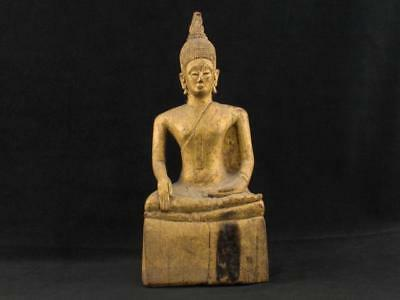"NobleSpirit NO RESERVE 3970 Marvelous 9 1/2"" Carved Wood Sitting Buddha Statue"