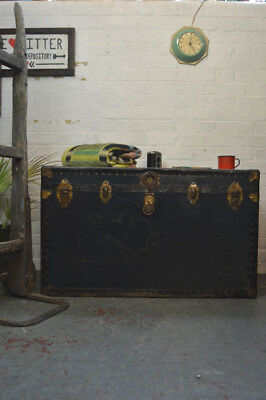 Vintage Industrial Large Green Steamer Trunk Coffee Table Toy Box Display