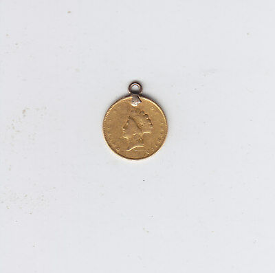 1855 USA $1 LIBERTY HEAD Gold One Dollar Coin with Loop - Jewelery Piece