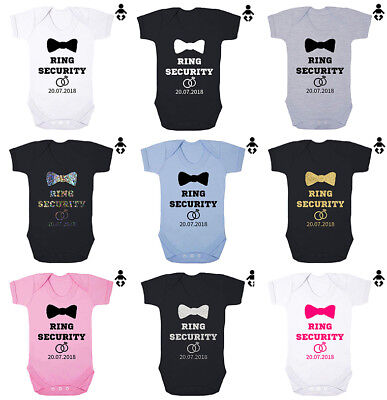 RING SECURITY Personalised Date, wedding, Page boy Baby grow BABY VEST, Bodysuit