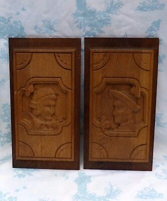 Antique Dutch Solid Oak Hand Carved Wooden Panels with Man & Woman Heads/Busts