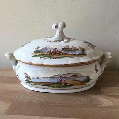 Lovely 18th century Meissen Tureen with Romantic Harbor Scenes