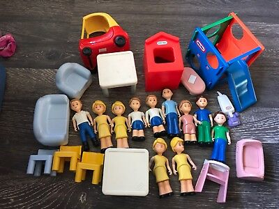 Huge Lot Vintage Little Tikes Dollhouse Furniture People Cozy Coupe