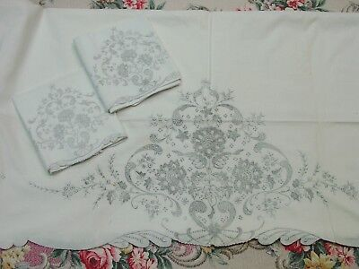 Exquisite Linen Sheet and Pillowcases, Embroidered in Madeira Unused