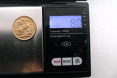 Gold 22k Full Sovereign1891 Queen Victoria 8g