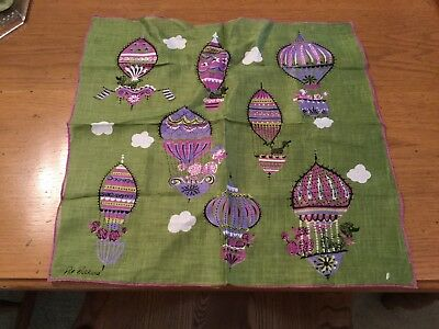 Vintage Pat Prichard handkerchief, hankie, hot air balloons. Excellent!!