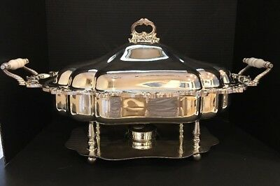 """Towle Large Chafing Dish w/ Lid. Silverplate 24"""" X 16""""."""