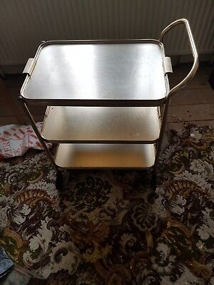 Vintage Retro Tea Hostess Drinks Trolley Gold Wood Effect Chichester Party