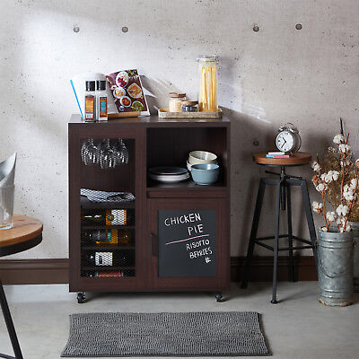 Kitchen Bar Cart Multi Storage Wine Rack Industrial Rolling Console Table Walnut