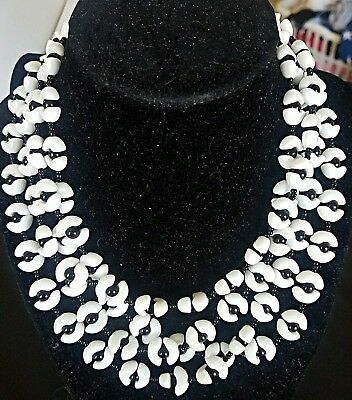 Rare Signed Miriam Haskell Glass Beaded 4 Strand Black & White Necklace Jewelry