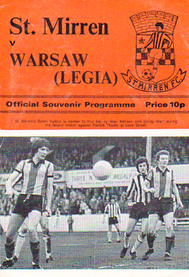 St Mirren V Legia Warsaw 4/2/1976 Friendly