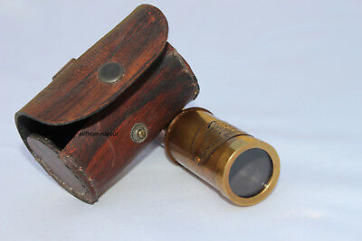 Victorian 6'' Marine Telescope with LEATHER Box - Pirate Navigation Gift