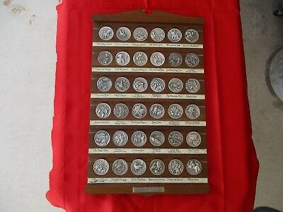 "RARE Longines Wittnauer ""Heritage of the Golden West"" 36 Pce Sterling Medal Set"