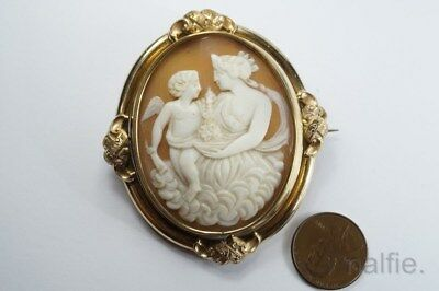 ANTIQUE VICTORIAN GILT CARVED SHELL EOS / AURORA CAMEO BROOCH c1880 $1 N/RES