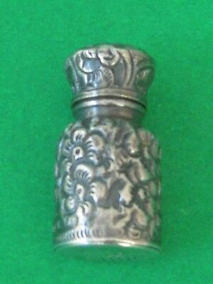 c. 1893 Charles May Birmingham Sterling Silver Small Perfume Bottle Florals