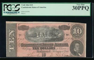 AC T-68 $10 1864 Confederate Currency CSA PCGS 30 PPQ