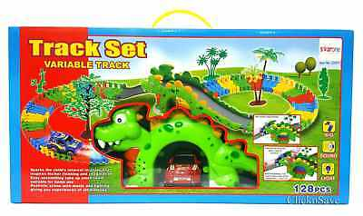 Dinosaur Flexible Track Car Racing Play Set With Sound & Lights - Kids Toy
