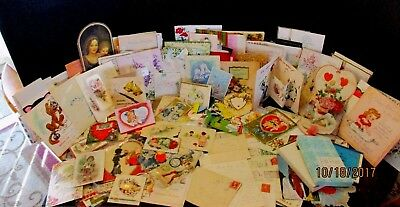 Vtg Cards, letters, Valentines  Lot of over 300 pc. Dated 1894 to 60's Lot#5180