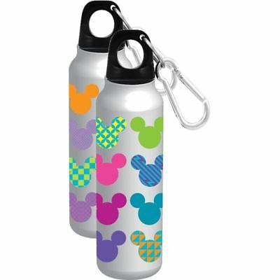 Disney Mickey Mouse Icon Head Aluminum Water Bottle Wide Mouth Silver 18oz