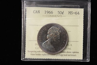 1966 Canada. 50 Cents. ICCS Graded MS-64 (XYG873)
