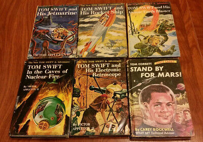 TOM SWIFT JR 5  hardcover books 3 w/DJs 2 PC plus 1 reading copy TOM CORBETT PC