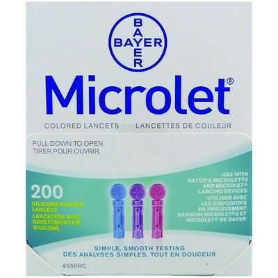 Microlet 28G Coloured Lancets x 200