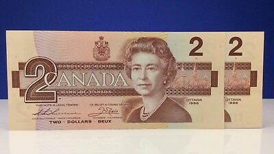 Two 1986 Canada 2 Dollars AUT Prefix New Consecutive Uncirculated Banknotes B725