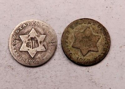 1852+1853 SILVER Three Cent Coin (3 Cent) Lot // 2 Coins // (STL75)