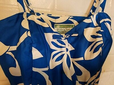Vintage WALTAH CLARKE'S Blue/White HAWAII Sarong Dress Style 7O3S