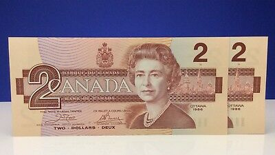 Two 1986 Canada 2 Dollars ARH Prefix New Consecutive Uncirculated Banknotes B726