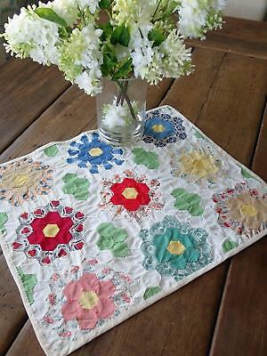 Vintage flower Garden Quilt Top Table or Doll Quilt 18x15