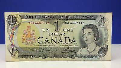 1973 Canada Replacement One 1 Dollar GL Prefix Circulated Canadian Banknote B727