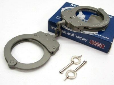 PEERLESS Gray Chain Link 730 SUPERLITE Lightweight HANDCUFFS + 2 Keys! 4708