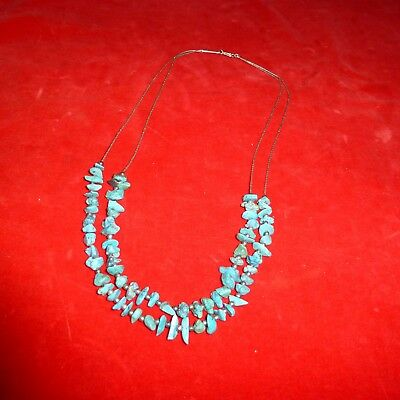 Rare Ca 1930 Native American Navajo Indian Silver & Two Row Turquoise Necklace