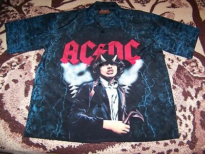 NEW Vintage AC/DC Rockware by Dragonfly Button Dress Bowling Collar Shirt Sz XXL