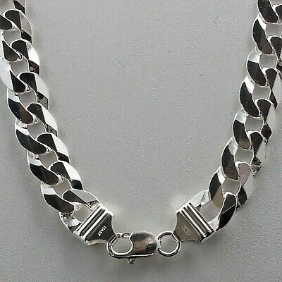 """Mens 12mm Solid 925 Sterling Silver Cuban Link Curb Chain Necklace 24' 30"""" Italy"""