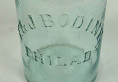 Antique F & J Bodine Canning/Fruit Jar Aqua with Lid & Bale 1 QT Light Whittle