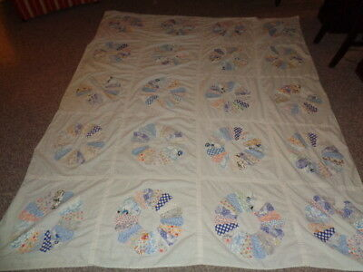 "Antique Dresden Plate  Quilt 63"" X 84""  Clean Estate FInd 1930's Great Pastels"