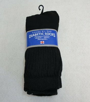 3-6-12 Pairs Black Diabetic Therapeutic Crew Socks w/ Loose Fit Top SIZE 10-13