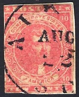 US CSA Confederate States Stamp #5 Used 1862 CDS Cancel cv$475