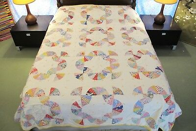 "Vintage GRAPHIC Hand Sewn Feed Sack Cotton MOHAWK TRAIL Tied QUILT; 90"" x 77"""