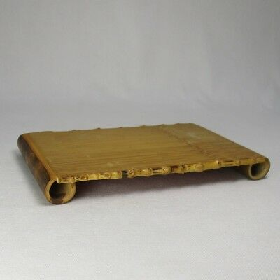 A384: Popular Japanese bamboo ware smallish flat decorative stand with good work