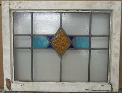 """MID SIZED OLD ENGLISH LEADED STAINED GLASS WINDOW Abstract Star 24.75"""" x 19"""""""